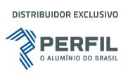 Selo da Perfil Alimínio informando que a empresa é distribuidor exclusivo